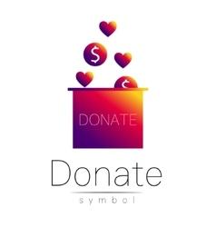 Donation sign icon donate money box and herat vector