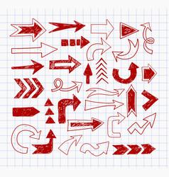 doodle pen sketch arrows on lined paper vector image vector image
