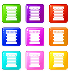 Empty supermarket refrigerator icons 9 set vector
