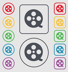 Film icon sign symbol on the Round and square vector image