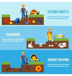 Flat Color Archeology Banners Set vector image