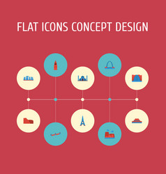 Flat icons drought paris china and other vector