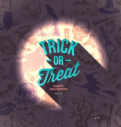 Halloween type design on a hand drawn background vector image