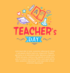 Happy teachers day poster with icons silhouettes vector