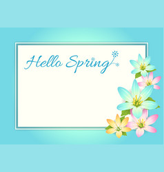 Hello spring card banner or poster background vector