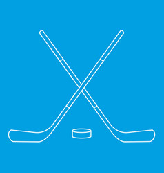Hockey sticks and puck icon outline style vector