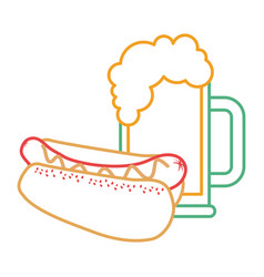 Hot dog and beer food unhealthy vector