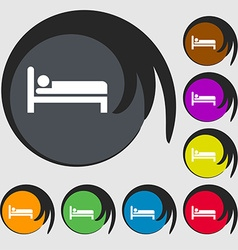 Hotel icon sign Symbol on eight colored buttons vector image vector image