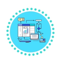 Icon flat style design working process vector