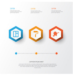 Industry icons set collection of carry cart vector