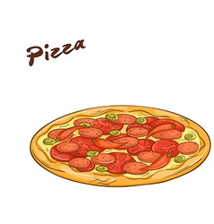 isolated cartoon hand drawn fast food Pizza vector image vector image