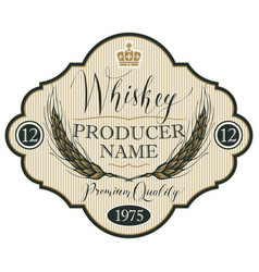 Label for whiskey with ears of barley vector