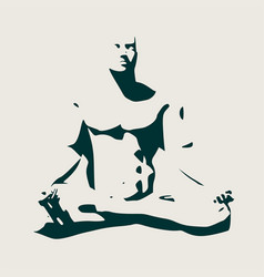 muscular man meditation vector image
