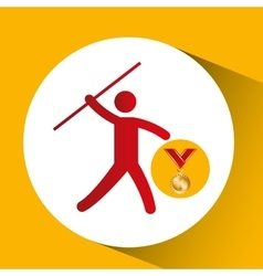 Olympic gold medal javelin throw icon vector