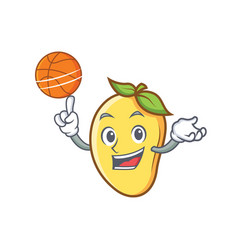 Playing basketball mango character cartoon mascot vector
