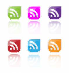 RSS icon set vector image