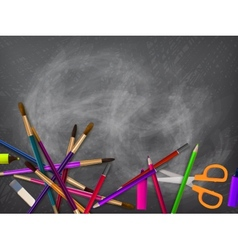 School supplies on blackboard plus EPS10 vector image