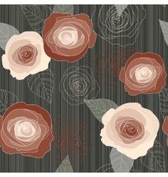 Seamless roses pattern on dark green vector