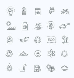 simple set of eco related line icons vector image