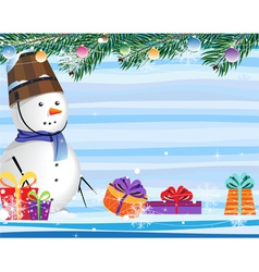 snowman on a abstract striped background vector image