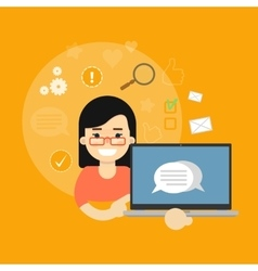 Social media banner girl with laptop vector