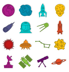 space icons doodle set vector image