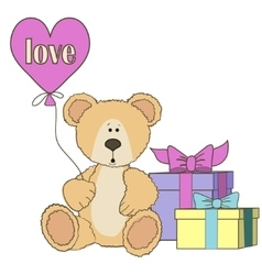 Teddy bear gift boxes and balloones vector