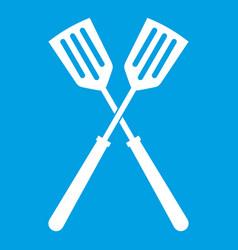 Two metal spatulas icon white vector