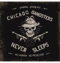 Vintage label with gangster vector