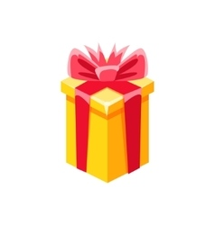 Yellow with red bow gift box with present vector
