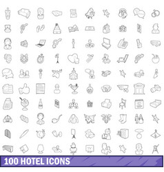 100 hotel icons set outline style vector image