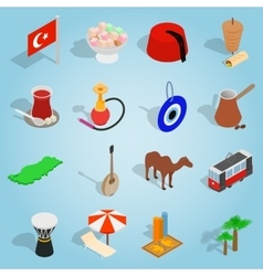 Country Turkey set icons isometric 3d style vector image