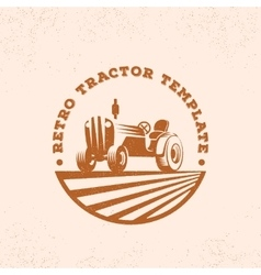 Retro tractor silhouette logo or emblem vector