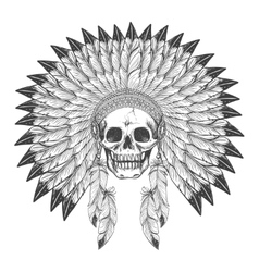 Native american indian skull with headdress vector