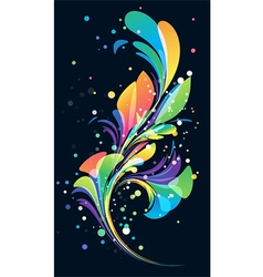 Multicolored abstract floral element on black back vector