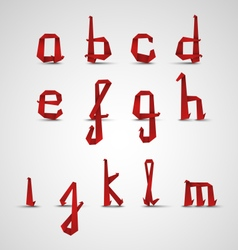 Alphabet with small red folded paper letters vector