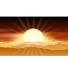 Sunset desert background or sunrise over sandy vector image