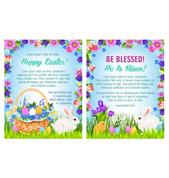 Easter spring holidays poster template design vector