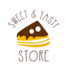 Sweet and tasty store colorful hand drawn label vector