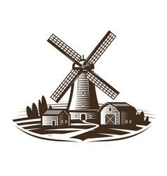 Windmill mill logo or label farm rural vector