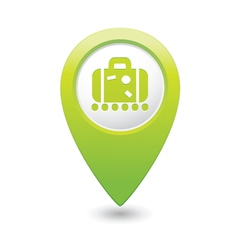 Suitecase green map pointer vector