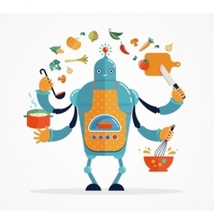 Multitasking robot chef baking and cooking vector image