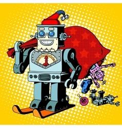 Robot Santa Claus Christmas gifts humor character vector image