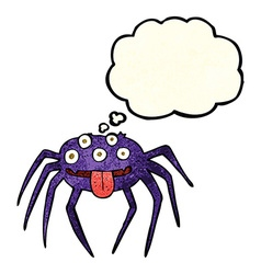 Cartoon gross halloween spider with thought bubble vector