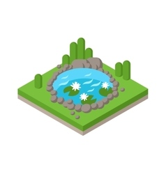 Flat 3d isometric pond outdoor vacation web vector