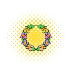 Memorial wreath of flowers icon comics style vector