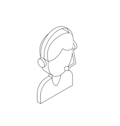 Male customer support operator with headset icon vector