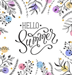 Hello summer greeting cerd vector