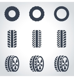 Black tire icon set vector