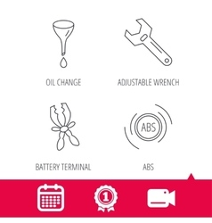 Adjustable wrench oil change and abs icons vector